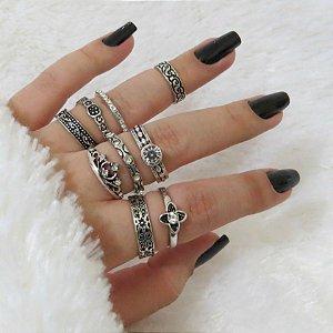 KIT Madame, conjunto de anéis com 8 peças, + 1 falange