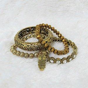 Conjunto de pulseiras freedom, 4 peças, coruja - REF P126