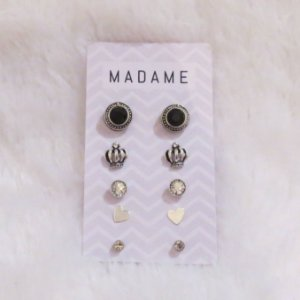 Kit Madame, 5 pares de brincos, prateado
