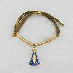 Pulseira santa fé, nossa senhora c/ pedraria azul royal, dourada
