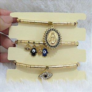 Conjunto de pulseiras, santa fé, 3 peças, olho grego, dourada - REF P137