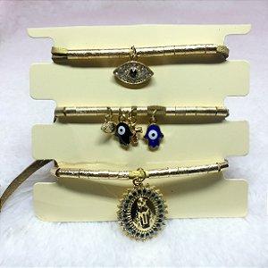 Conjunto de pulseiras, santa fé, 3 peças, olho grego, dourada