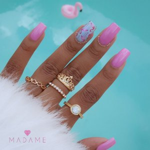 Conjunto de anéis com 4 peças, inspired queen, dourado