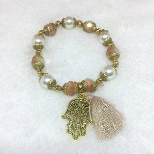 Pulseira wonderful, mão de fátima, pérola, dourada - REF P144