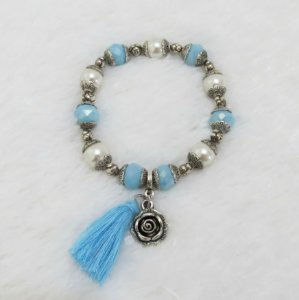 Pulseira wonderful, floral, azul turquesa, pérola, prateada - REF P145