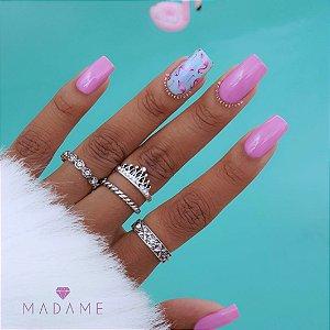 Conjunto de anéis com 4 peças, queen little, prateado