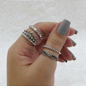 Conjunto de anéis com 4 peças, queen classic, prateado - REF: K021