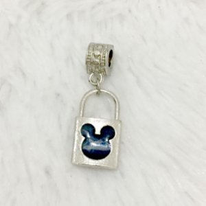 Berloque pingente, cadeado mickey mouse, prateado