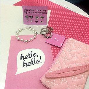 KIT Madame - Diamond - 1 pulseira + 1 kit de brincos + 1 kit de anéis + 1 necessaire + printable grátis