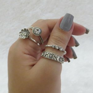 Conjunto de anéis com 4 peças, primavera, prateado