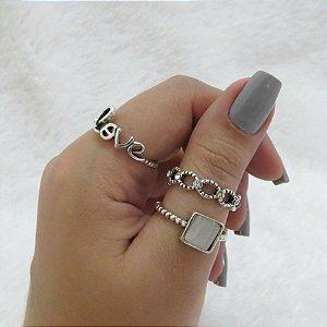 Conjunto de anéis com 3 peças, love, prateado