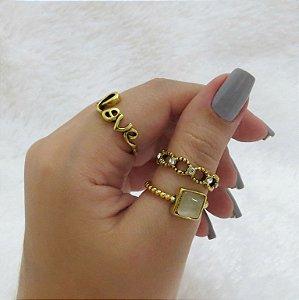 Conjunto de anéis com 3 peças, love, dourado - REF: K024