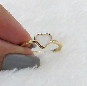 Anel corazon, solitário, dourado - REF A053