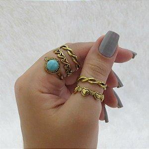 Conjunto de anéis com 5 peças, durban love, turquesa, dourado
