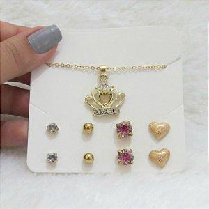 Kit de brincos e colar queen dourado - 5P56XFSBL