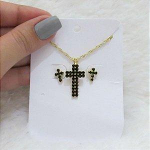 Kit de brinco e colar santa fé, dourado - FC2PBSUKE