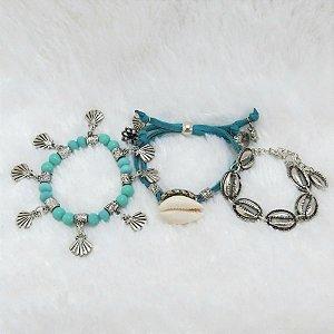 Conjunto de pulseiras, 3 peças, mermaid, acqua - REF P170