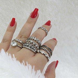 KIT Madame, conjunto de anéis com 8 peças + 1 falange grátis - REF: K002