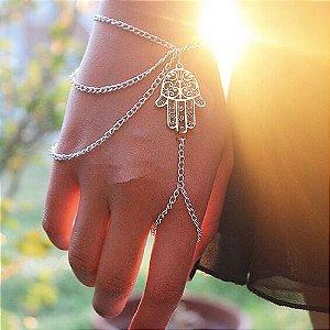 Pulseira de mão com anel, mão de fátima - REF P177