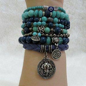 Conjunto de pulseiras tijuana, 8 peças, prateado envelhecido - REF P181