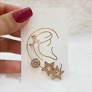 Kit de brincos fuzion, ear cuff, star, dourado
