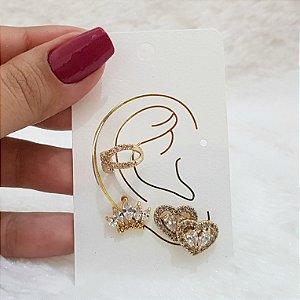 Kit de brincos fuzion, ear cuff, love, dourado