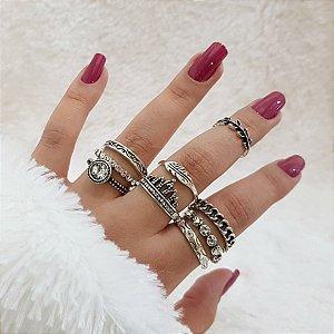 Kit de anéis madame c/8 peças + 1 falange - REF: K003