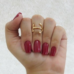 Anel de falange, âncora, dourado - REF: F034
