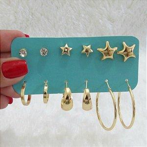 Kit de brincos star com argolas, 6 pares, dourado - REF B172