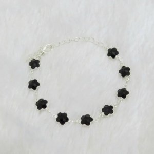 Pulseira floral preta prateada - REF P217