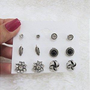Kit de brincos, 6 pares de brincos, pedra preta, prateado - REF B230