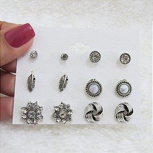 Kit de brincos, 6 pares de brincos, pedra marfim, prateado - REF B231