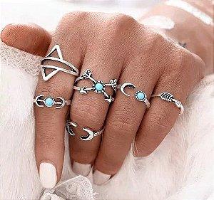Kit de anéis turquesa, hippie, 6 anéis, prateado - REF K029