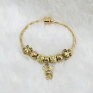 Pulseira inspired, funny, 6 berloques + 1 pingente, dourada - 17,5cm -  - REF P239