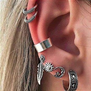 Kit de piercings, indía, 7 peças, prateado - REF B240