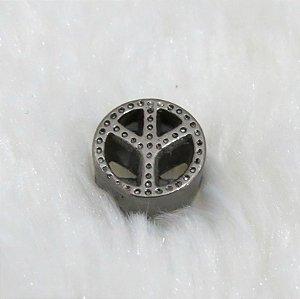 Berloque passante, símbolo da paz, ródio negro