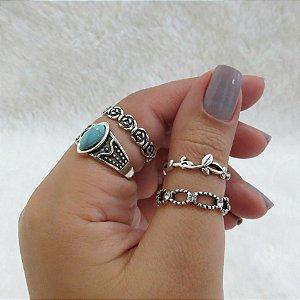 Conjunto de anéis com 4 peças, turquesa, boho, prateado - REF K033