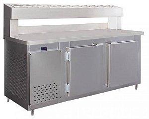 Balcão Condimentadora Inox 1,50 mts com 8 cubas 1/16 - Frilux