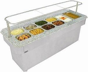 Buffet Térmico de Centro p/ 06 cubas 1/1x100 c/ acabamento em granito e cobertura de vidro