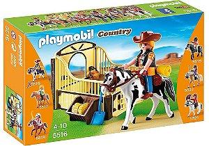 5516 PLAYMOBIL COUNTRY  CAVALO DE RODEIO COM COWGIRL