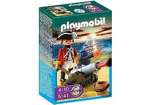 5141 PLAYMOBIL PIRATA  SOLDADO INGLES COM CANHAO