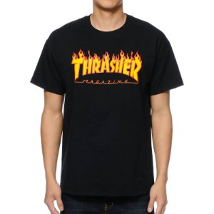 Camiseta Thrasher Flame Logo - Black