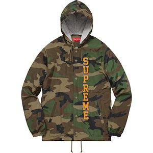 Moletom Supreme Vertical Logo Hooded Coaches - Woodland Camo