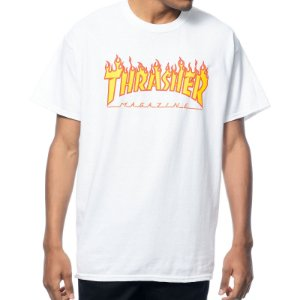 Camiseta Thrasher Flame Logo - White