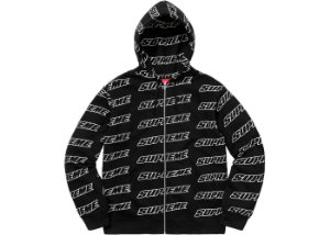 Moletom Supreme Repeat Zip Up Hooded - Black