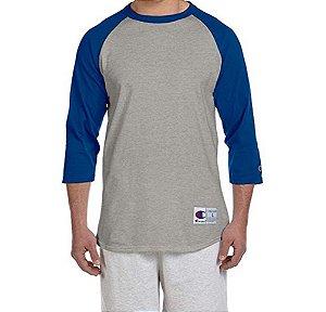 Camiseta Champion Raglan Baseball - Grey/Blue