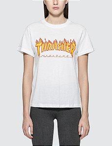 Camiseta Thrasher SS Flame Logo - White