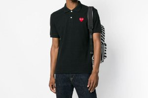 Camiseta Polo Comme des Garcons Play Heart - Black
