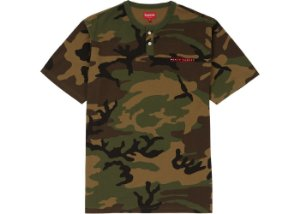 Camiseta Supreme Pique SS Henley - Woodland Camo