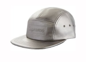 Boné 5-Panel Supreme Pebbled Leather - Metal